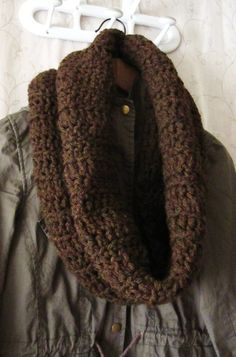 Unisex Coffee Brown Crochet Infinity Scarf