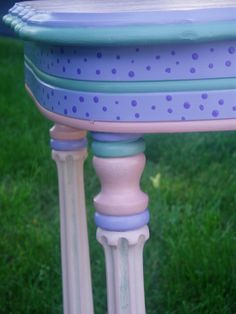 painting furniture ideas | desk with a blue milk paint undercoat followed by cream milk paint ...