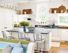 White, dark countertops, bread board collection
