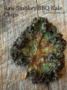 Raw Smokey BBQ Kale Chips: sun dried tomatoes, water, apple cider vinegar, olive oil, lemon juice, coconut aminos, liquid smoke, pink salt, garlic, onion, cayenne pepper, kale