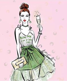 HAPPY ST. PATRICK'S DAY!!! Fashion Illustrator Samantha E. Forsyth. Follow @samanthaeforsyth on Instagram. Shop phone cases, mugs and accessories samanthaeforsyth.com| Be Inspirational ❥|Mz. Manerz: Being well dressed is a beautiful form of confidence, happiness & politeness