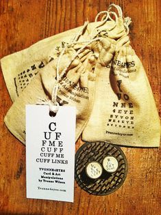 Cuff Me Eye Chart Cuff Links Left Right by Yvonne4eyes on Etsy, $14.00