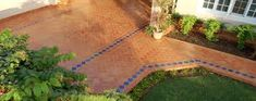 I was hoping to see perfect layout for angled corners.: But blue goes with terra cotta. Flagstone, Garden Bridge, Cement, Sliders, Terracotta, Stepping Stones, Brick, Tile, Garage