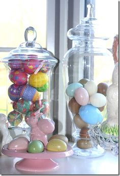 The apothecary jars filled with eggs add height and interest.