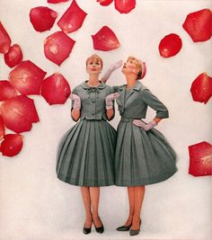 1950's Fashion - its amazing how a dull coloured fabric makes an elegant dress with the right cut and a-line pleated hem :)