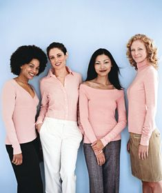 Women wearing mellow rose.  One of 4  universally flattering colors plus true red,  eggplant, and Indian teal.