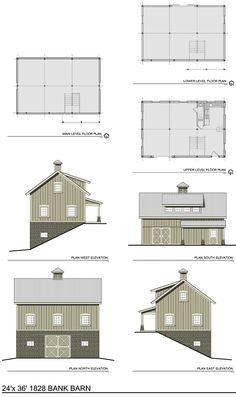 The 1828 Bank Barn - Barn Plans (thenorthamericanbarn.com)  top- living quarters; main- equipment ; bottom- stalls