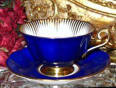 ROYAL ALBERT TEA CUP AND SAUCER AVON SHAPE COBALT & GOLD TEACUP