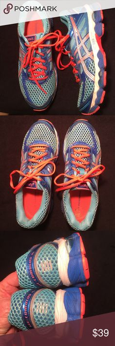 Asics Women's Running Shoes Size 8 1/2 Such a light weight, well structured running shoe. I didn't wear these a lot and they have lots and lots of miles left on them!! Gel-cumulus 15. No rips, stains, rips or tears. Non smoking home Asics Shoes Athletic Shoes
