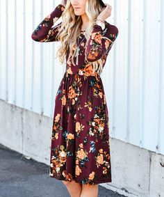 Loving this Burgundy Floral Pocket Midi Dress on #zulily! #zulilyfinds