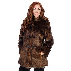 725-508 - Pamela McCoy Shaggy Faux Fur Long Sleeved Toggle Front Hooded Coat. Shown in Brown Fox!
