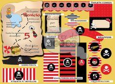 Fiesta Pirata - Benicio 5 Años: Diseño de tarjeta de invitación, banderines, Minibanderines, Círculos multiuso, envoltorios para golosinas, Etiqueta p/ botellas, visera- gorro pirata, tarjetas souvenir, tarjetas para indicar comidas y wrappers.