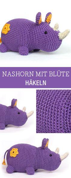Kostenlose Häkelanleitung für ein Amigurumi Nashorn mit Blüte / amigurumi tutorial: crocheted hippo via DaWanda.com