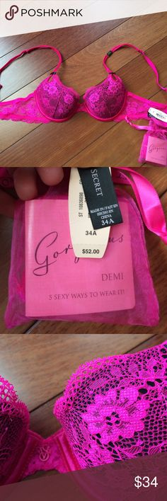 NWT Victoria's Secret Gorgeous Demi Bra 34A Very, very thin foam lining, the thinnest they make. Comes with extra straps that make this multi way. Beautiful pink lace over black. Victoria's Secret Intimates & Sleepwear Bras
