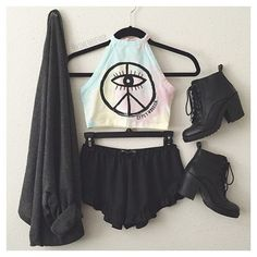 blouse top peace hippie tie dye shirt tank top tumblr pale cute kawaii pink colorful colorful tumblr outfit tumblr shirt girly outfits tumblr tumblr clothes cardigan shorts shoes shoes combat boots multicolor eye sign crop tops peace sign rainbowcolors black crop-top clothes graphic crop tops pastel grunge top halter crop top crop tops