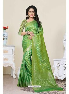 Banarasi Saree Catalog 5133 Grab This Saree In Green Color Paired With Green Colored Blouse. This Saree And Blouse Are Fabricated On Banarasi Art Silk Beautified With Weave All Over. This Saree Is Light In Weight And Easy To Drape. Buy Now. Designer Sarees Wedding, Saree Wedding, Wedding Wear, Bridal Lehenga, Art Silk Sarees, Banarasi Sarees, Lehenga Choli, Indian Beauty Saree, Indian Sarees