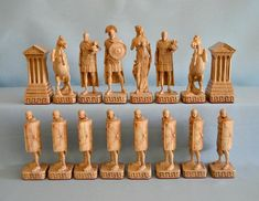 exclusive chess set Romans and Persians from Chess Set Unique, Chess Table, Wood Carving Patterns, Chess Pieces, Wood Projects, Welding Projects, Board Games, Etsy, Creative