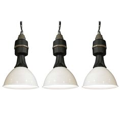 Set of 3 Industrial Pendants | From a unique collection of antique and modern chandeliers and pendants  at http://www.1stdibs.com/furniture/lighting/chandeliers-pendant-lights/