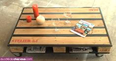Faire une table basse à roulettes avec 1 palette
