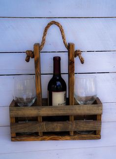Wine Caddy. Wine and Glass Carrier. by SawyersRusticPallets