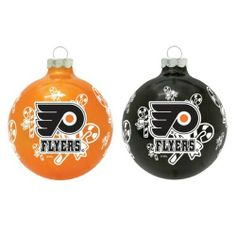 "NHL Philadelphia Flyers Traditional 2 5/8"" Ornament Set in Primary and Secondary Team Color by Topperscot. $12.99. You'll want more than one set adorning your tree come this Holiday season.  Topperscot's Traditional 2 5/8"" Ornament features bold team graphics and a full wrap background pattern that enhances this ornament.  Set includes one primary and one secondary team color ornament.  Officially Licensed designs."