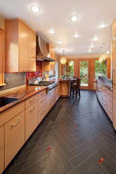Herringbone tile floor kitchen contemporary with under cabinet lighting range hood