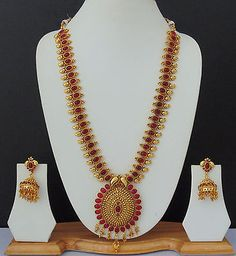 Indian Long Necklace Jewelry Bollywood Gold Plated Traditional Ruby Ethnic Set
