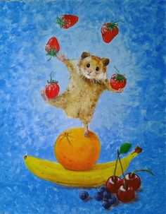 ARTFINDER: Five A Day by Marjan van der Kooi - This cheerful hamster is juggling strawberries and ballances on fruits. I had a lot of fun thinking out this scene and drawing and painting it. I am rather p...
