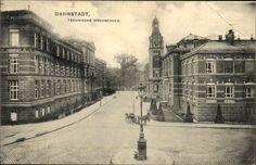 Ansichtskarte / Postkarte Darmstadt in Hessen, Straßenpartie mit Technischer Hochschule