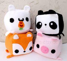 Cute stuffed animals that come in a cube shape with ears, tail, and legs that… Kawaii Diy, Kawaii Cute, Cute Pillows, Diy Pillows, Cute Crafts, Felt Crafts, Cute Stuffed Animals, Cute Animals, Softies