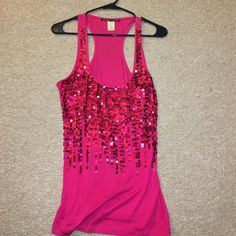 Sequined pink tank. LOVE CULTURE Pictures show exact color. Worn a few times. Size medium! Love Culture Tops Tank Tops