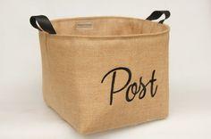 POST Hessian Burlap Padded Storage Basket Bin  by RaggedHome