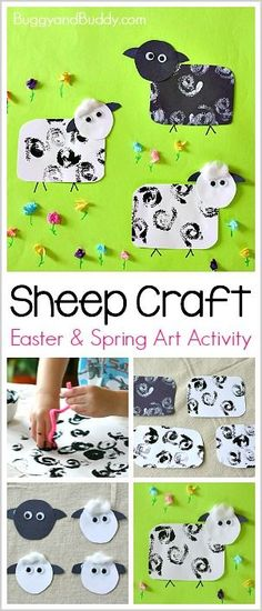 Cool Sheep Craft for Kids using stamping and tissue paper! Perfect for spring and Easter! ~ BuggyandBuddy.com via @https://www.pinterest.com/cmarashian/boards/