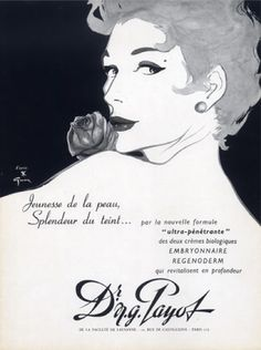 Illustration by  René Gruau, 1955, Dr N.G. Payot Cosmetics.