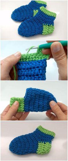 Te mostramos diferentes imágenes del paso a paso para que sepas como hacer calcetines a crochet para tu bebé recién nacido o para tus niños.