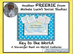 Key to the World Scavenger Hunt of Fun Geography Facts - Good Intro to World Geo. FREE