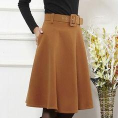 Outono inverno de lã saia para as mulheres saia de cintura alta plissada saias em Saias de Moda e Acessórios no AliExpress.com | Alibaba Group
