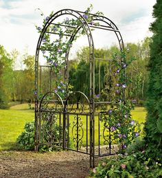 Garden Arbor Archway Dark Bronze Finished Iron Patio Arbor WITH Gate Elegant & Stylish Perfect for Weddings, Ceremonies, & Outdoor Venues Looks Great in Lawns, Yards, and Patios