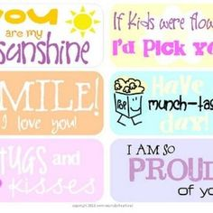 Lunchbox Love Notes {Printables for Kids}  Free printable Lunchbox Love Notes in fun spring colors!  The perfect way to spruce up a boring brown bag lunch!