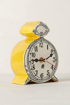 fun yellow Tick-Tock Clock #anthrofave http://rstyle.me/n/s8dnzr9te