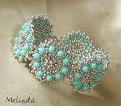 Türkizkék-ezüst karkötő / Turquoise blue - silver bracelet by Melinda