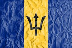 flag of barbados with vintage old paper