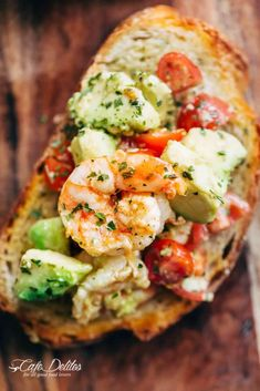 Need appetizer, lunch, or some serious snack inspiration? Need appetizer, lunch, or some serious snack inspiration? Shrimp Avocado Garlic Bread would have to be the next BEST Shrimp Dishes, Shrimp Recipes, Fish Recipes, Appetizer Recipes, Appetizers, Dinner Recipes, Avocado Recipes, Healthy Recipes, Shrimp Avocado