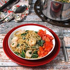 Garlicy Pasta with Sauteed Shrimp and Chard #WeekdaySupper - Whole Food | Real Families