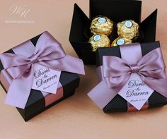 Dusty Rose wedding favor gift box with satin ribbon bow and Creative Wedding Favors, Elegant Wedding Favors, Custom Wedding Favours, Wedding Gifts For Guests, Wedding Favor Boxes, Unique Wedding Favors, Wedding Reception, Destination Wedding Welcome Bag, Wedding Welcome Bags