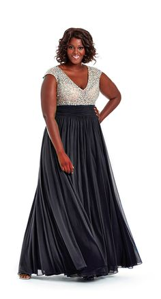 Plus Size Black Beaded Bodice Prom Gown