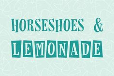 Horseshoes & Lemonade Font - Inspired by vintage fifties and sixties design elements. The lettering features exaggerated angles with the square borders popular at the time. By laurenashpole $15 #affiliatelink