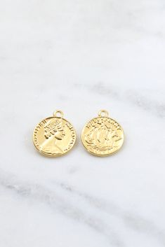 925 Sterling Silver 24k Gold Vermeil Style 6 Round Disc Tag Charms 5 mm.