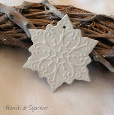 Grace Snowflake Clay Tags - Set of Two - Ornament Christmas Decoration White Christmas Ornaments, Diy Christmas Gifts, Christmas Art, Christmas Decorations, Christmas Ideas, Polymer Clay Ornaments, Dough Ornaments, Winter Art Projects, Handmade Tags
