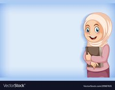 Plain background with muslim girl holding big book vector image on VectorStock